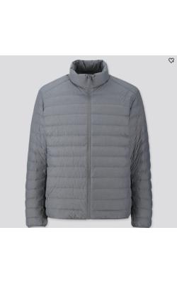 Серая матовая легкая куртка на пуху Uniqlo