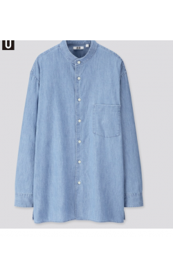 Джинсовая рубашка свободного кроя с воротником-стойкой Uniqlo U