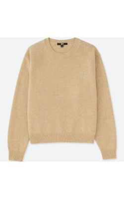 Бежевый свитер с круглым вырезом Uniqlo