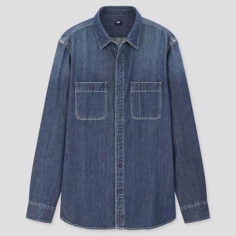 Джинсовая рубашка Uniqlo в синем оттенке