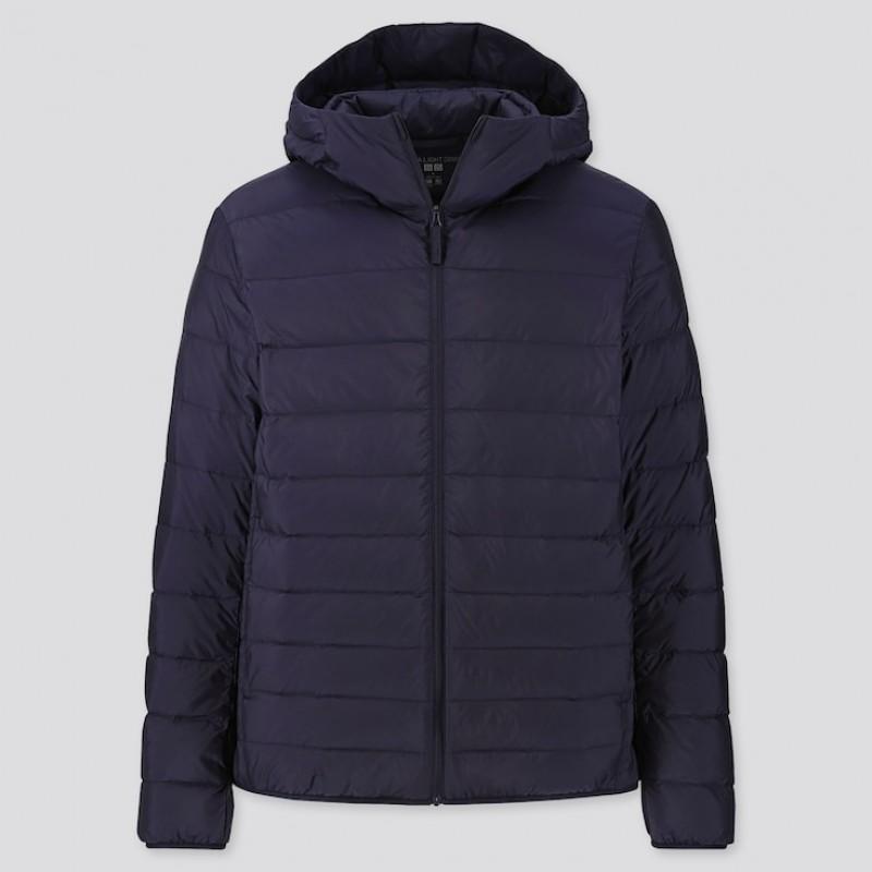 Темно-cиняя легкая куртка на пуху Uniqlo