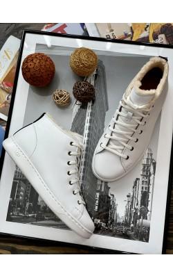 """Высокие кеды UGG белые кожаные """"Pismo high sneaker"""""""