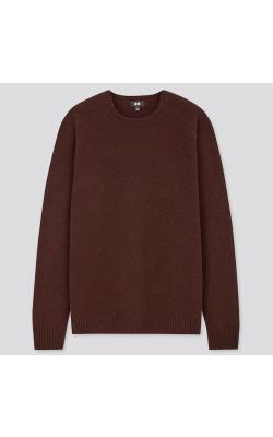 Темно-коричневый свитер с круглым вырезом Uniqlo