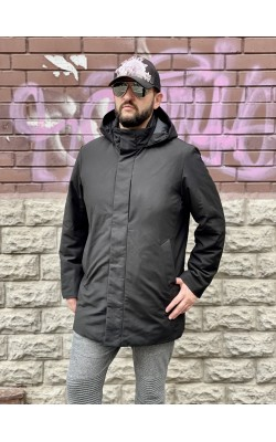 Пуховое пальто Uniqlo черное