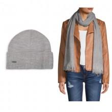 Серый комплект со стразами (шапка+шарф) Calvin Klein