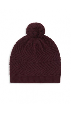 Бордовая шерстяная  шапка UGG