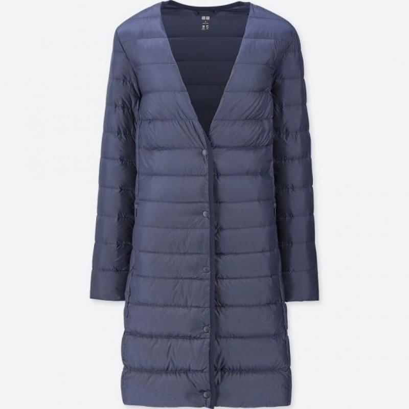 Черное ультралегкое пальто на пуху Uniqlo