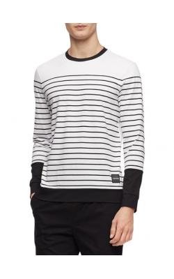 Белый лонгслив в полоску Calvin Klein