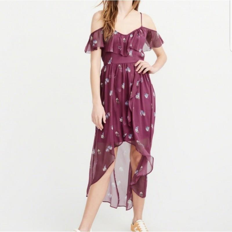 Фиолетовое макси платье с цветочным принтом  Abercrombie & Fitch
