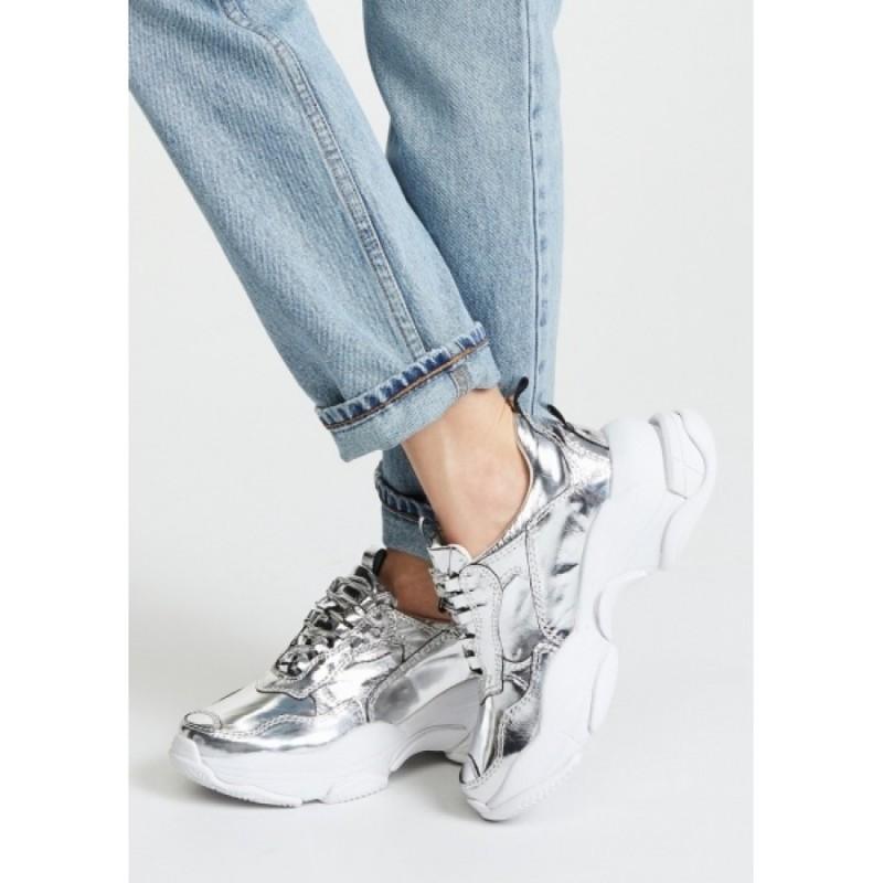 Cеребристые кожаные кроссовки Jeffrey Campbell