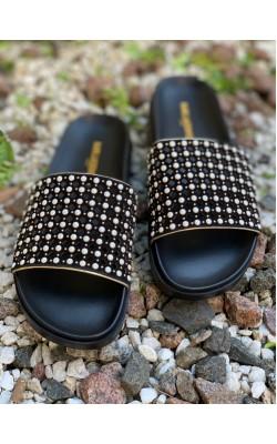 Черные замшевые шлёпанцы Karl Lagerfeld Paris