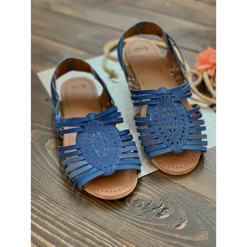 Синие кожаные босоножки Asos