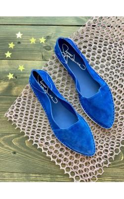 Синие замшевые балетки Report Signature