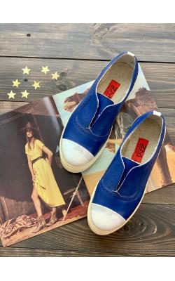 Синие кожаные слипоны Zenka&Mari