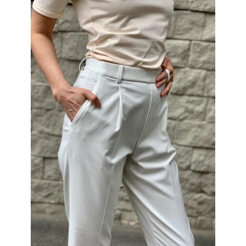 Cветлые укороченные брюки в полоску Uniqlo