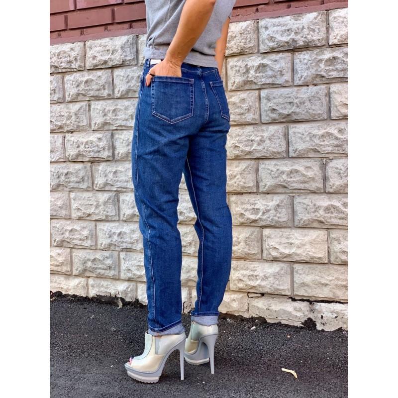 Синие прямые зауженные к низу джинсы Hollister