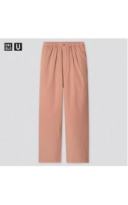 Широкие брюки с высокой талией Uniqlo оранжевые