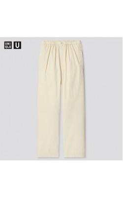 Широкие брюки с высокой талией Uniqlo светлые