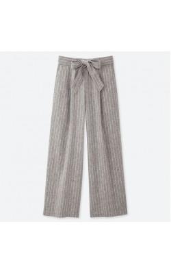Серые брюки в вертикальную полоску изо льна Uniqlo