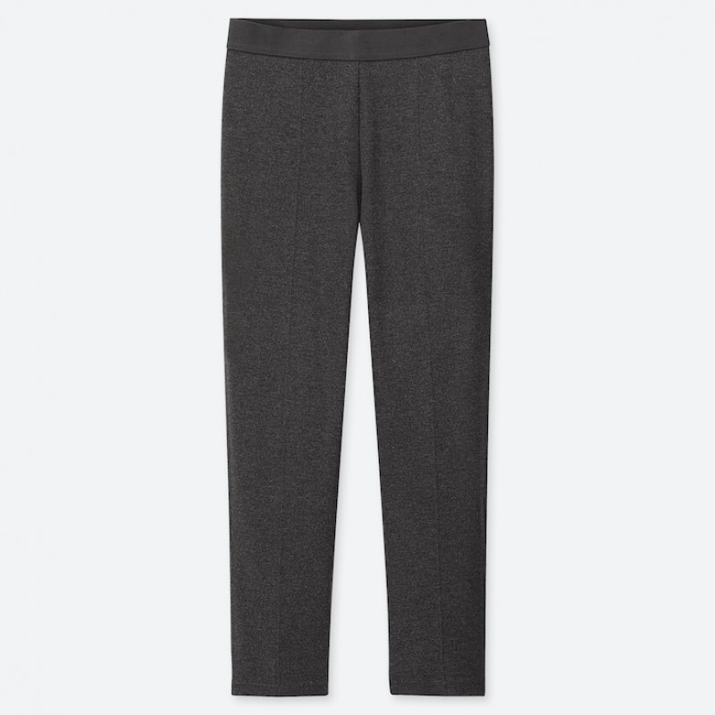 Серые зауженные брюки ponte slim на резинке Uniqlo