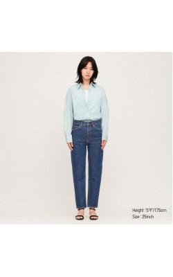 Синие зауженные джинсы с высокой талией Uniqlo
