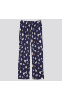 Широкие штаны синие в цветочный принт Uniqlo