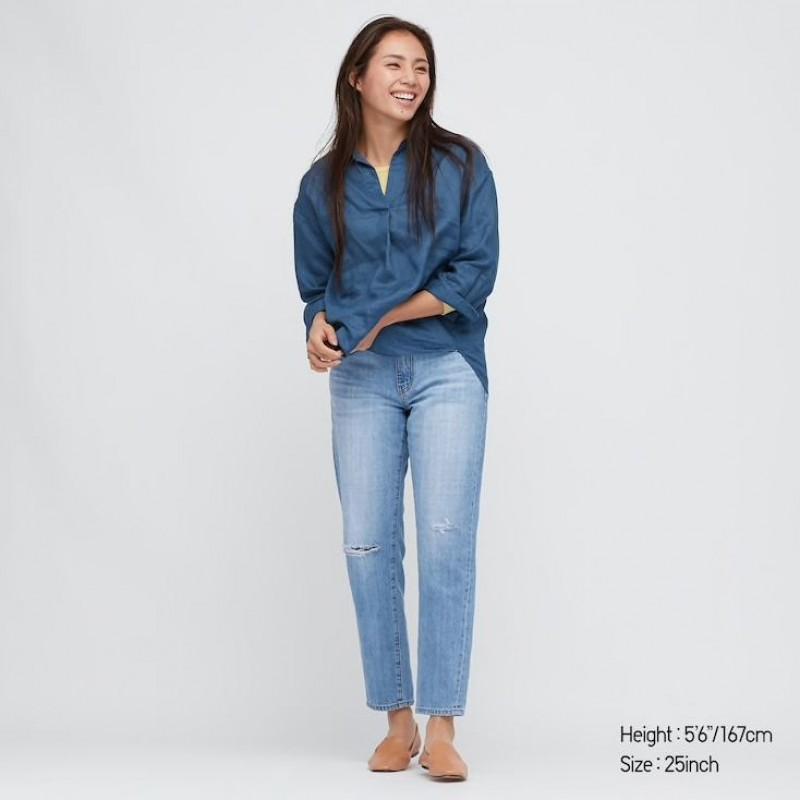 Джинсы с дырками на коленях Uniqlo Jeans голубые
