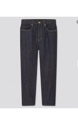 Джинсы c высокой посадкой Uniqlo Jeans укороченые темно-синие