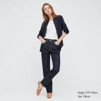Джинсы c высокой посадкой Uniqlo Jeans прямые темно-синие