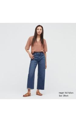 Широкие укороченные синие джинсы с высокой посадкой Uniqlo