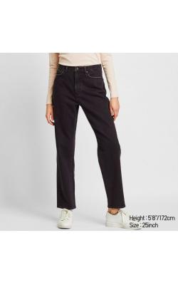 Темно-серые прямые джинсы с высокой посадкой Uniqlo