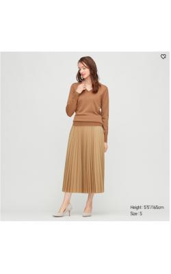 Коричневая элегантная плиссированная юбка с высокой посадкой от Uniqlo