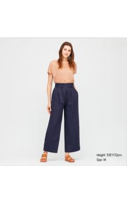 Синие брюки из льна с высокой посадкой Uniqlo