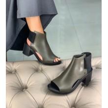 Оливковые босоножки на каблуке Melissa