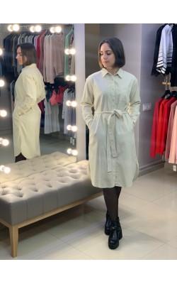 Молочное платье-рубашка Uniqlo