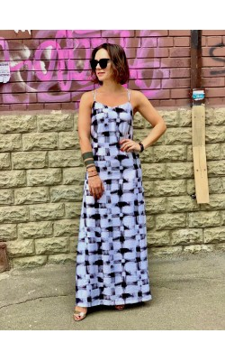 Черно-белое макси платье Armani Exchange