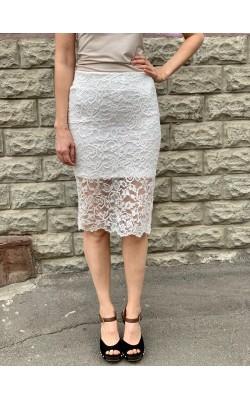 Белая кружевная юбка H&M