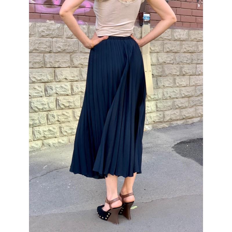 Темно-синяя плиссированная юбка  Uniqlo