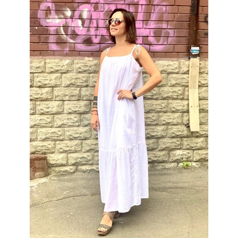 Белое хлопковое платье Abercrombie & Fitch