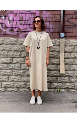 Платье Uniqlo бежевое миди