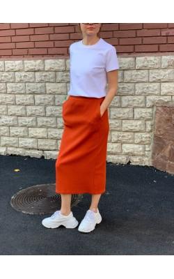 Юбка Uniqlo оранжевая миди