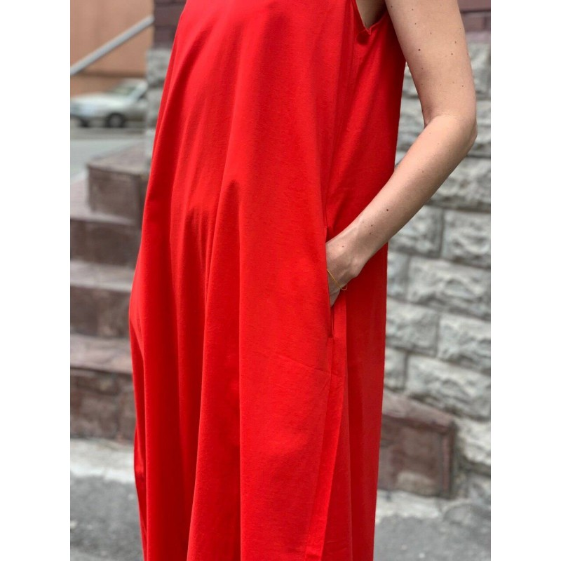 Красное платье длины макси Uniqlo