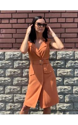Оранжевое платье Favlux без рукавов