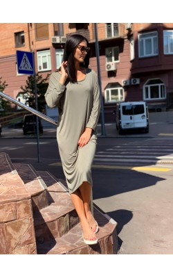 Оливковое миди-платье BooHoo