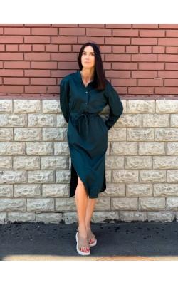 Струящиеся темно-зеленое платье Uniqlo
