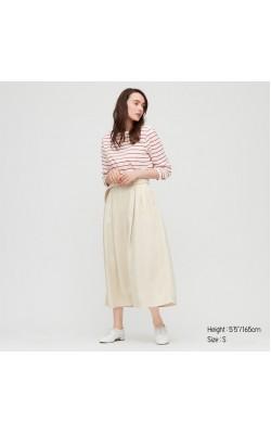 Светлая юбка из льна с высокой посадкой Uniqlo
