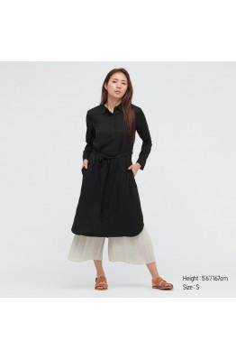 Платье-рубашка черное Uniqlo на пуговицах