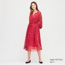 Платье Uniqlo миди красное в цветочный принт