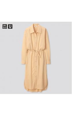 Бежевое объёмное платье рубашка Uniqlo U