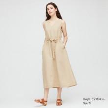 Бежевое платье макси Uniqlo